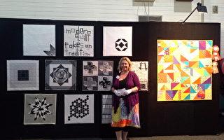 堪培拉現代縫被協會(Canberra Modern Quilt Guild)Nicole Shipway 女士和該協會作品。(李鳳貞/大紀元)