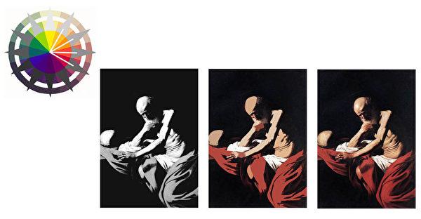圖3:卡拉瓦喬的雙色調起稿法示意圖。(Art Renewal Center提供)