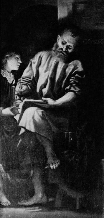 圖5:[意]羅曼尼諾(Girolamo Romanino),《聖馬太和天使》(The Inspiration of St Matthew),1521年作。(Art Renewal Center提供)