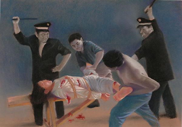 酷刑演示:性侮辱。女性學員所受的摧殘之一 (明慧網)