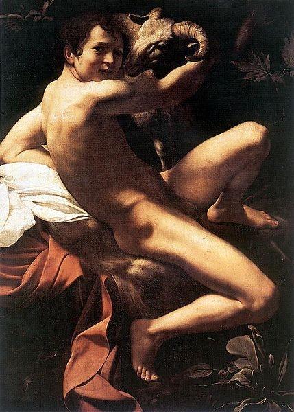 圖12:[意]卡拉瓦喬,《施洗者聖約翰》的另一個版本——羅馬多利亞‧潘菲利美術館藏。(維基百科公共領域)