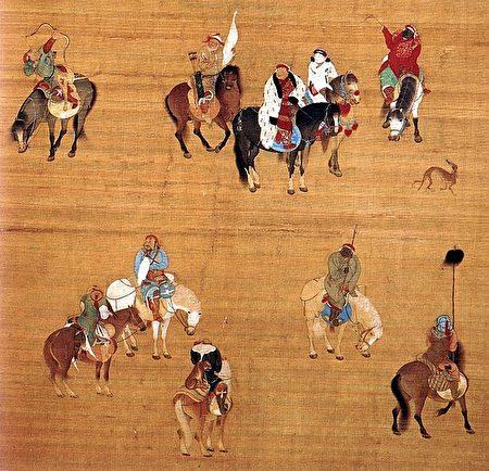 元朝畫家劉貫道於至元十七年(1280年)二月繪製的《元世祖出獵圖》局部。(維基百科公有領域)