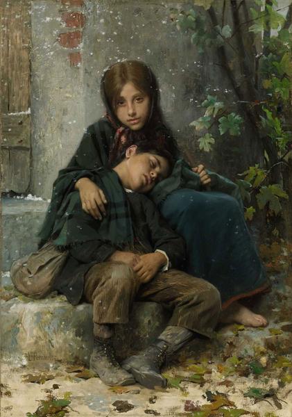 [法]莱昂‧巴齐尔‧佩罗(Léon Bazile Perrault,1832—1908),《寒风中》(Out in the Cold),私人收藏。(艺术复兴中心提供)