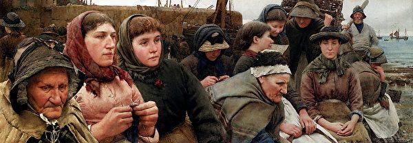[英]沃尔特‧兰利(Walter Langley,1852—1922),《等待船来》(Waiting For The Boats),私人收藏。(艺术复兴中心提供)