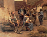 [法]莱昂‧奥古斯丁‧莱尔米特(Léon Augustin Lhermitte)1882年在巴黎沙龙展出的力作《收割的报酬》(La Paye des moissonneurs),法国巴黎奥塞博物馆收藏。(艺术复兴中心提供)