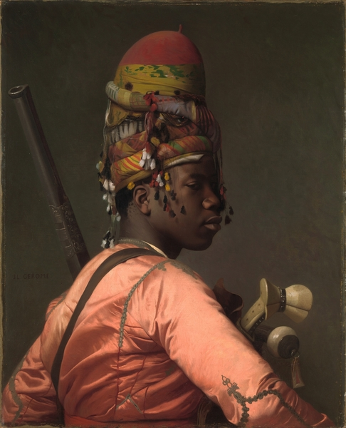 [法]让―莱昂‧热罗姆(Jean-Léon Gérôme),《黑人非正规军》(Black Bashi-Bazouk)。纽约大都会艺术博物馆藏。(艺术复兴中心提供)