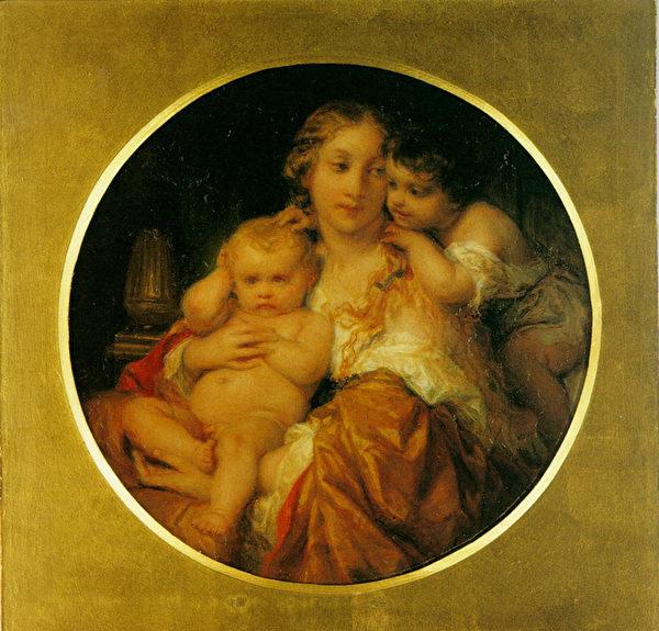 一封非常感人的信是那個時代的前輩大師之一德拉羅什寫給布格羅的。圖為:保羅‧德拉羅什(Paul Delaroche,1797—1856),《母與子》(Mother and Child),私人收藏。(藝術復興中心提供)