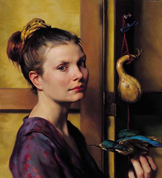 [美]納爾遜‧尚克斯(Nelson Shanks,1937—  ),《藍鳥》(Bluebird),私人收藏。(藝術復興中心提供)