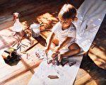 """只要人类的大多数都可以自由地比较和判定什么才是伟大的艺术,并以诗性、真与美作为指路灯,作为通用语言的传统与当代写实艺术一定会盎然重生。[美]史蒂夫‧汉克斯(Steve Hanks,ARC认证""""在世大师""""之一),《小艺术家》(Young at Art)局部,水彩,私人收藏。(艺术复兴中心提供)"""