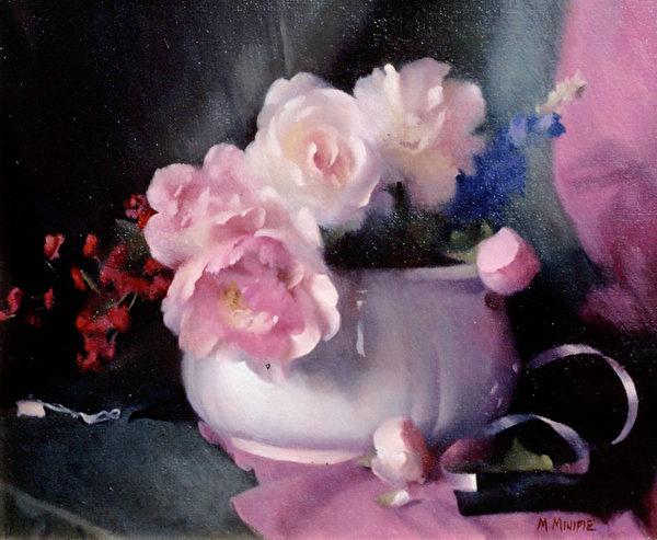 [美]瑪麗‧米妮菲(Mary Minifie,ARC認證「在世大師」之一),《粉色調諧》(Harmony In Pink),私人收藏。(藝術復興中心提供)