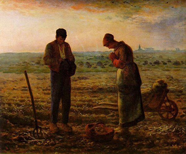 [法]让-弗朗索瓦‧米勒(Jean-François Millet,1814—1875),《晚祷》(L'Angélus),巴黎奥塞博物馆藏。(艺术复兴中心提供)