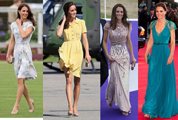 英国凯特王妃亮眼的外表和独特的穿衣品味,是镁光灯焦点。(法新社及Getty Images)