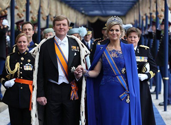 荷兰国王威廉‧亚历山大和王后马克西玛。(Jasper Juinen/Getty Images)