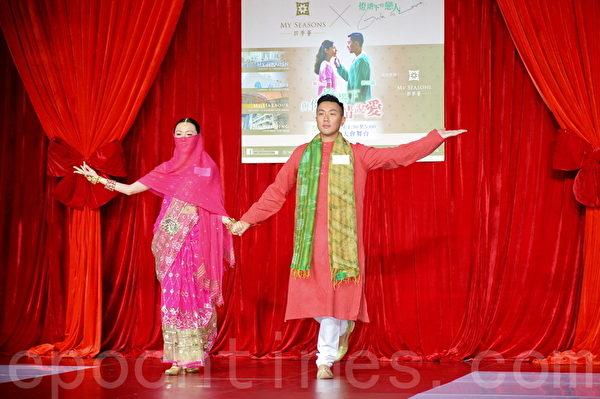 劉心悠、劉浩龍身穿印度服裝出席活動。(宋祥龍/大紀元)