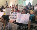8月26日晚苗必达居民在圣荷西规划委员会听证会上抗议。(梁博/大纪元)