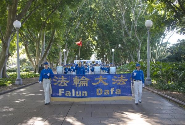 9月4日在澳洲法轮大法修炼者在悉尼修炼交流会期间,举行了盛大游行和集会。(瑞内/大纪元)