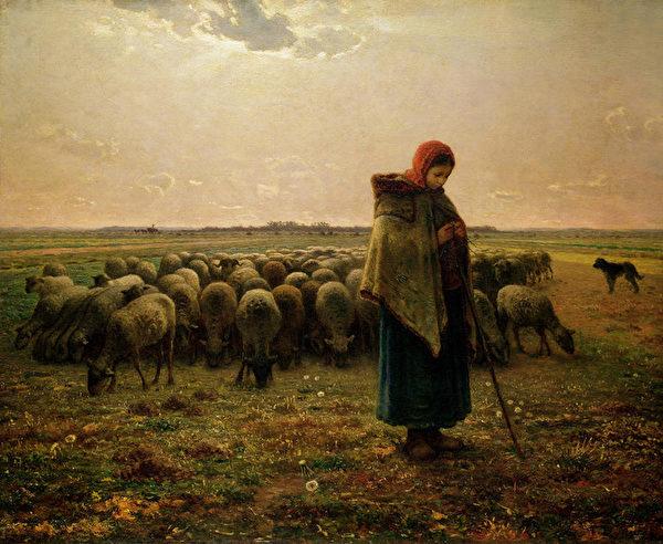 [法]让-弗朗索瓦‧米勒(Jean-François Millet,1814—1875),《牧羊女和羊群》( Shepherdess with her flock),1864年作,巴黎奥塞美术馆藏。(艺术复兴中心提供)