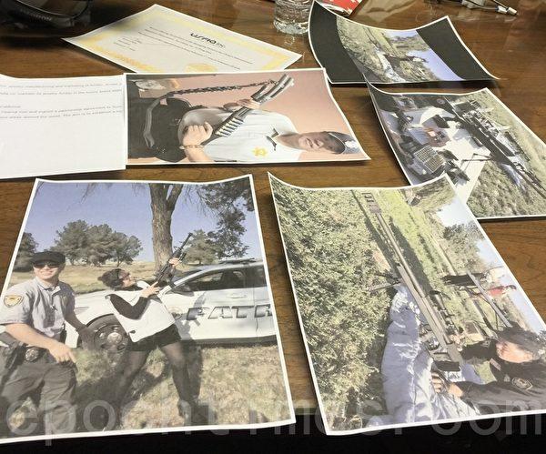珍寶幣抗議者展示美國富豪集團會員外出打靶的照片,稱照片中的武器在陳力辦公室可以找到。(大紀元)