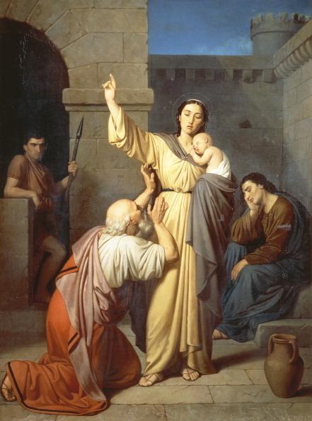 [意]安东尼奥‧里道尔菲(Antonio Ridolfi),《圣佩蓓图安慰父亲》(St Perpetua comforting her father),1857年作,私人收藏。(DeAgostini/Getty Images)