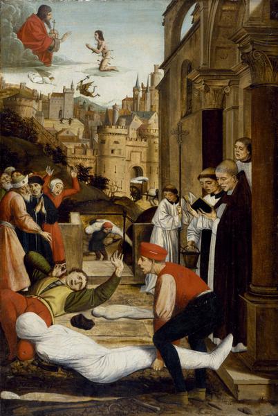 [尼德兰]若斯‧列菲林西(Josse Lieferinxe),《圣塞巴斯蒂安代瘟疫灾区向神祈祷》(Saint Sebastian Interceding for the Plague Stricken),1497年作,美国巴尔的摩市沃尔特斯艺术博物馆藏。(维基百科公共领域)