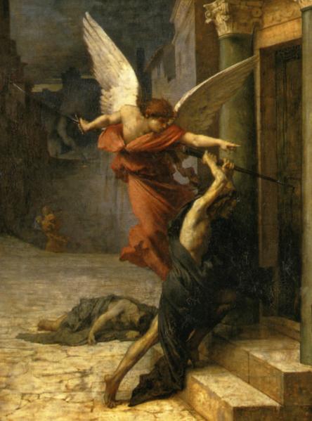 居勒-埃里‧德洛内,《被瘟疫侵袭的罗马城》局部。(艺术复兴中心提供)