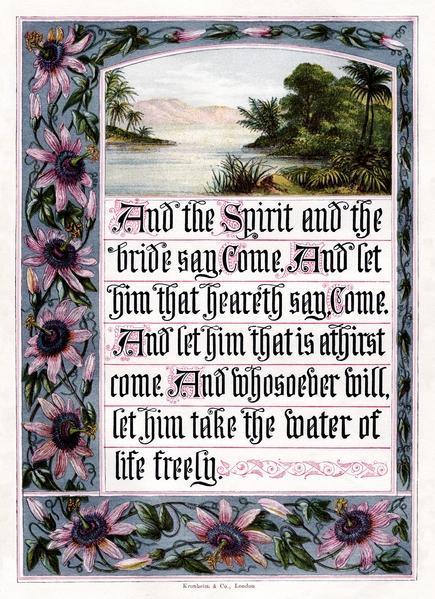 1880年英国出版的《圣经‧启示录》封面。(维基百科公共领域)