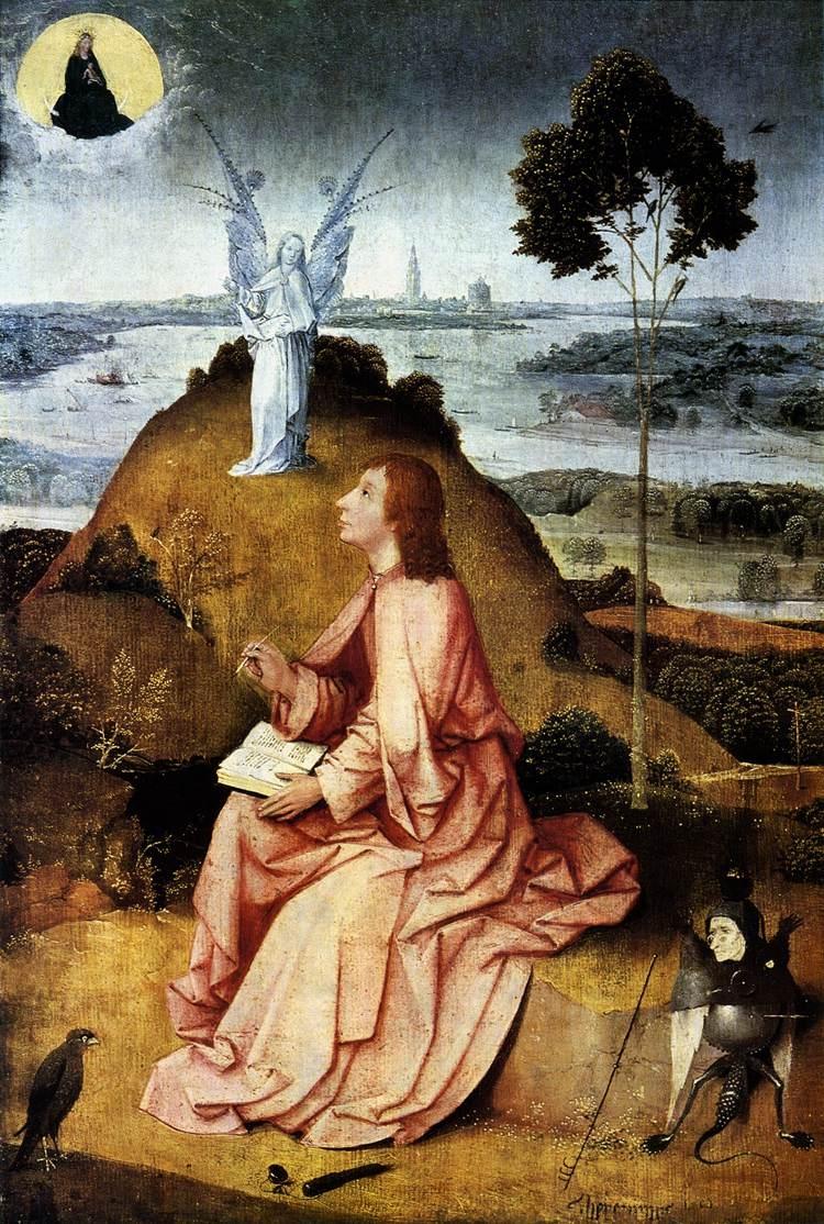 [尼德兰]希罗尼穆斯‧博斯(Hieronymus Bosch),《拔摩岛上的圣约翰》,约1500年作,柏林国立博物馆藏。(维基百科公共领域)