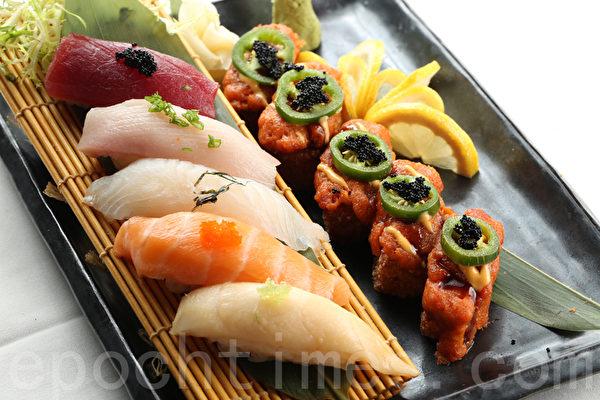 金枪鱼、黄尾鱼、比目鱼、三文鱼、白金枪鱼寿司合盘配辣金枪鱼饭团。(张学慧/大纪元)
