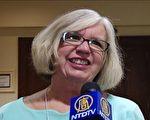 華盛頓大學退休副教授金伯利.克拉克.夏普(Kimberly Clark Sharp)女士接受專訪。(新唐人電視台提供)