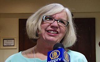 华盛顿大学退休副教授金伯利.克拉克.夏普(Kimberly Clark Sharp)女士接受专访。(新唐人电视台提供)