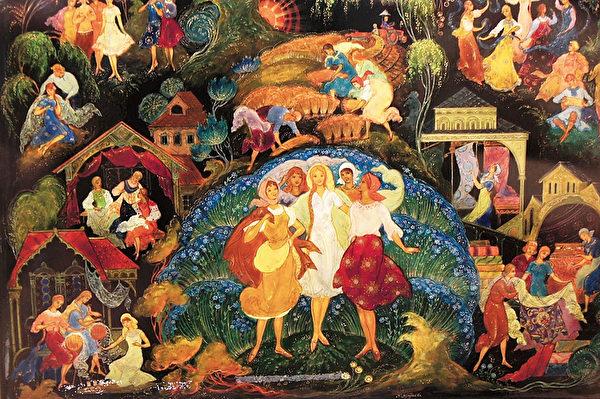 漆器上描绘俄罗斯美丽麻制品制作过程的故事。(商周出版社  提供)