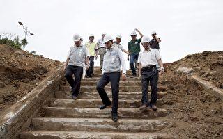 新竹水道取水口古迹修复发现日治时期驳坎遗迹。(新竹市政府提供)