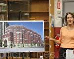 BYMCU項目負責人麗莎(Lisa)介紹房屋改建計劃。(林安/大紀元)