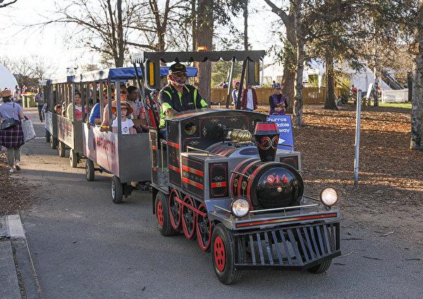 大人小孩都喜欢的小火车在公园里载着人们观花。(伊罗逊/大纪元)