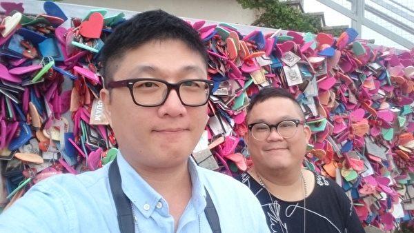 """吕安弦与林孝谦受邀欣赏关岛当地因异国恋而著名的""""情人岬""""。(海鹏提供)"""