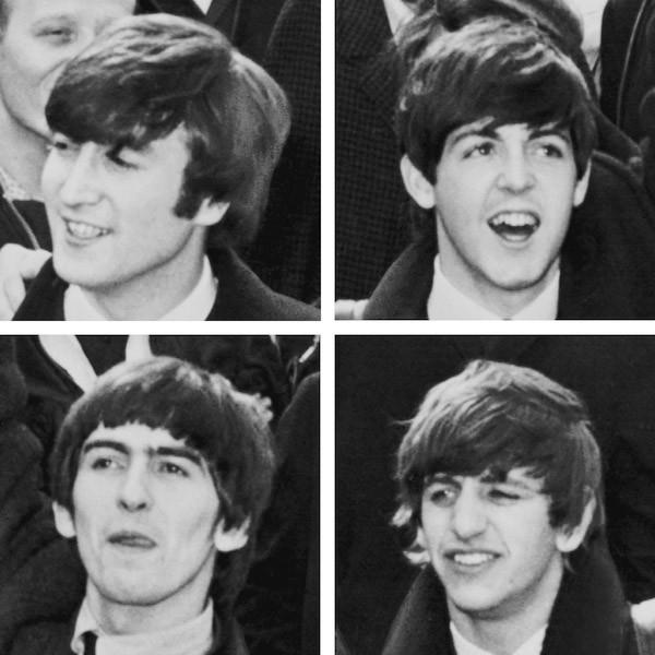 ◄ 1964年的披头士 乐队上排:列侬、麦卡特尼。下排: 哈里森、斯塔尔(Wikipedia)。