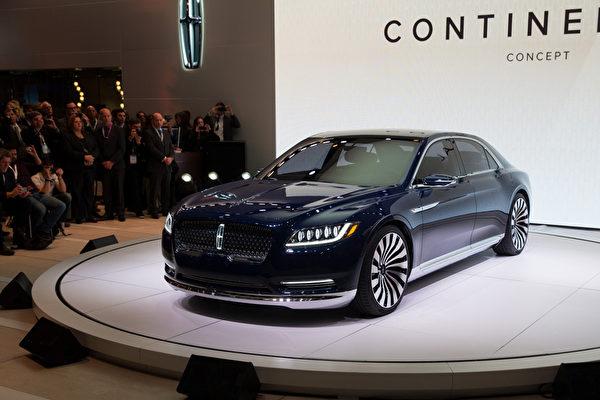 2015.04.01紐約車展。林肯發佈一款全新的Continental(譯為:大陸)的概念車。(戴兵/大紀元)