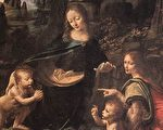 达‧芬奇(Leonardo da Vinci,1452—1519),《岩间圣母》(Virgin of the Rocks)局部,作于1495—1508年,板上油画,巴黎卢浮宫藏。(Fotolia)
