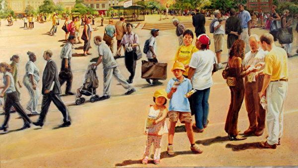 《交叉路口》,Kathleen Gillis,油彩.画布,148x81cm ,2006