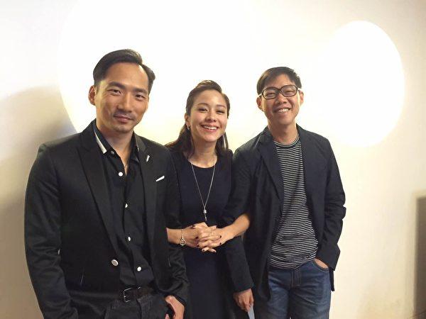 《百日告别》男女主角石头(左)与林嘉欣于釜山影展。右为导演林书宇。(国家电影中心提供)
