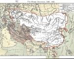14世纪元朝与四大汗国总疆域的地图,其中西亚深灰色部分为后来的帖木儿帝国。(维基百科)