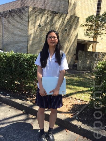 车市活高中(Chatswood High School)2015国际部学生联络领袖琳(Lyn)。(燕楠/大纪元)