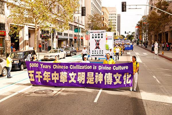 洛杉磯上千人遊行 大陸法輪功學員震撼