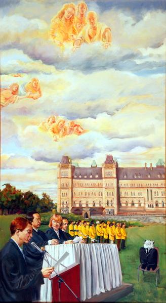 《人民法庭》,Kathleen Gillis,油画,32in X 58in (2004)