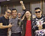 任賢齊(左1)帶著「男人幫」成員們釣蝦吃熱炒。(寰亞唱片提供)