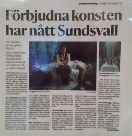 瑞典《松兹瓦尔报》报导并推荐《真善忍》美展。(程雯/大纪元)