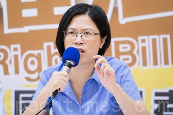 臺灣法輪功人權律師團發言人朱婉琪。(陳柏州 /大紀元)