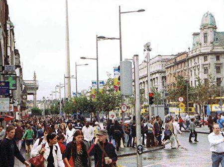 爱尔兰都柏林市中心。(明慧网)