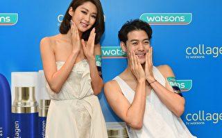 岑丽香为韩模示范护肤品。(公关提供)