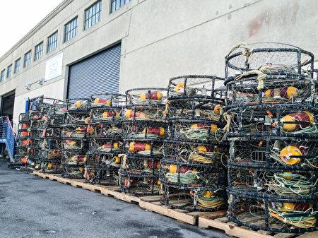 成堆的捕蟹笼并排码放在旧金山渔人码头岸边。(林骁然/大纪元)